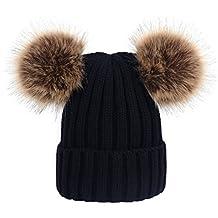 YeahiBaby Sombreros de punto de bebé Gorro de gorro de invierno cálido con bolas mullidas para niños de 0 a 6 años
