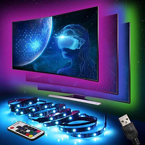 Preisvergleich Produktbild LED Strip InnooLight TV Hintergrundbeleuchtung LED-Streifen Led Lichterkette mit vielen Farben,  Fernbedienung und USB betriebenem 2M für TV,  Desktop, Schreibtisch,  5050RGB,  4 * 50CM Set
