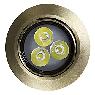American Imaginations AI-588 3.5-in. W Round Brass-LED Recessed Pot Light x D, Antique Color