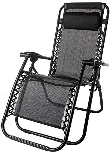 BTM-Zero-Gravity-Chaise-longue-inclinable-et-pliable-avec-repose-tte-pour-extrieur-Set-of-1-noir