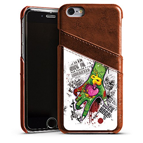 Apple iPhone 5s Housse Étui Protection Coque Tatouage Zombie Zombie Étui en cuir marron