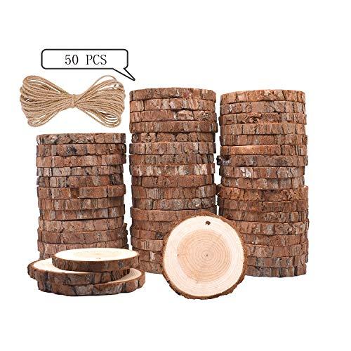 Ticiosh dischetti legno grezzo diametro 6-7cm 50 pz naturale decorazioni fette dischetti rotondo con 20m corda iuta fai da te natale feste matrimonio segnaposto forniture per pittura per bambini