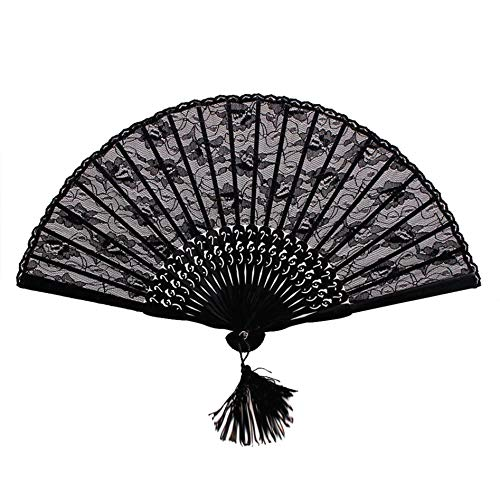 JK-2 Handheld Folding Hand Fan Vintage Retro Blumenspitze für Damen Mädchen schwarz