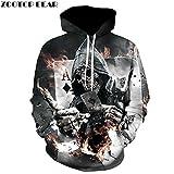 Hoodies Poker Skull sweat-shirts Hommes Femmes Pull Rock 3D Drôle Survêtements Sweats vestes hommes occasionnels de la mode hiver Outwear,M