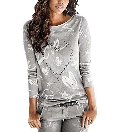 Yidarton Bluse Damen Langarmshit Herbst Winter Pullover Gedruckte Oberteil Hemd Herz Casual Loose T-Shirt Sweatshirt Tops (Grau, M) (Europäische T-shirt Kleid)