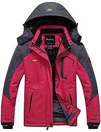 Wantdo Femme Anorak Veste de Ski Imperméable Doublure en Polaire Coupe-Vent à Capuche Amovible Coupe-Pluie