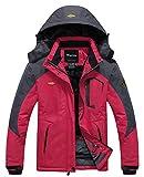 Wantdo Femme Anorak Veste de Ski Imperméable Doublure en Polaire Coupe-vent à Capuche Amovible Coupe-pluie Rose FR:XL (Taille Fabricant:L)