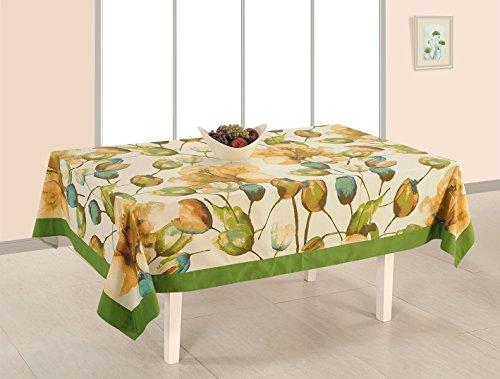 Couverture de Table Rectangle coton imprimé Table tissu couvercle 6 places -60 x 102 pouces, frontière verte