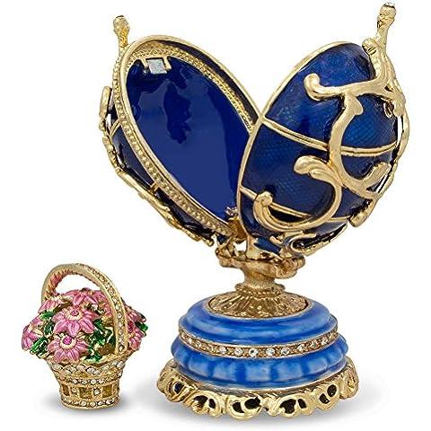 1899–1903fiori di primavera in blu Uovo russo (Smalto Jeweled Trinket)