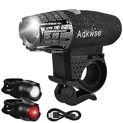 Led Fahrradbeleuchtung , Adkwse USB Fahrrad Licht Wasserdicht, Fahrradlampe Frontlicht & Fahrrad Rücklicht , 4-Modi Wiederaufladbar Fahrradlichter Set für Mountainbikes, Straßenrädern, Camping