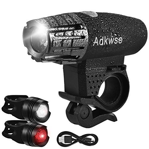 Fahrradlichter Set, Adkwse  LED  Fahrradlicht USB Fahrradlampe Frontlicht & Rücklichter , Wasserdicht 4 Licht-Modi Wiederaufladbar Fahrradlichter für Mountainbikes, Straßenrädern, Campi