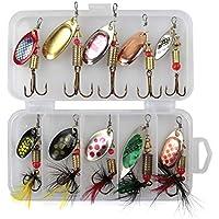 QLING 10Pcs/Set Sequins Spinner Fishing Lures with Hook, Lifelike Rotating Metal Fishing Bait Crankbaits Set Fishing Tackle Sharp Treble Hooks(10pcs)