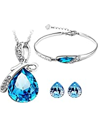 Caratcube Blue Water Drop Style Austrian Crystal Pendant Set With Earrings and Bracelet For Women (CTC - 6)