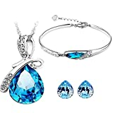 #8: Caratcube Blue Water Drop Style Austrian Crystal Pendant Set With Earrings and Bracelet For Women (CTC - 6)