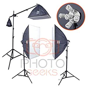 PhotoGeeks 3 Light Super 5 Softbox Continuous Photography Lighting Kit / 50 x 70cm Soft Boxes / 10 30w & 1 55w 5500k Bulbs/Boom Arm
