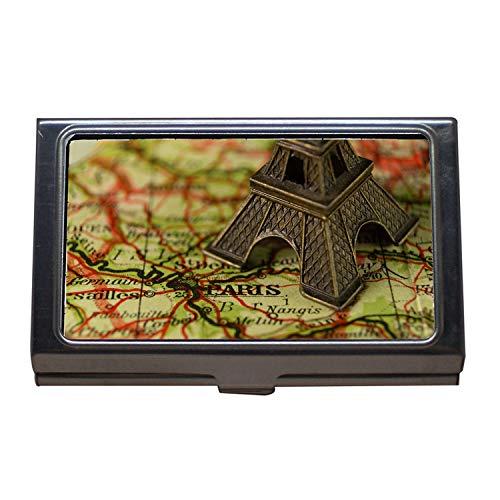 Visitenkartenetui, Karte London, Eiffelturm, Hundematte, Visitenkartenetui aus Edelstahl