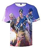 SIMYJOY Fortnite Jugador Camiseta Impresión 3D T-Shirt Impresión Digital Cool Juego Top para Hombre Mujer Adolescent Blanco XS