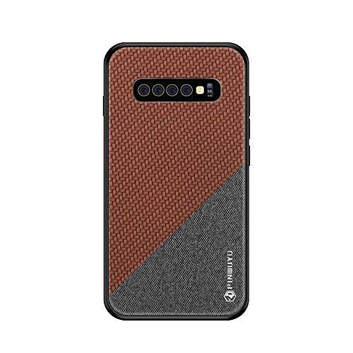 Riyeri Hülle Compatible with Samsung Galaxy S10 Plus Hülle Slim Hard PC Weicher Rand Silikonrahmen Cloth Craft Handy Schutz Schutzhülle für Samsung S10/S10e Cover 2019 (S10, Brown 1) Brown Handy Case
