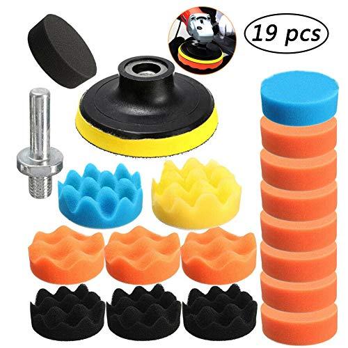 Bebester Polierpads, 19 Stück Auto-Polierschwamm, Polierpads, Set mit 1 x M10 Bohrer-Adapter für Autopolitur, Schleifen, Wachsen
