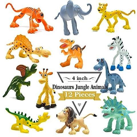 4 inch Cartoon Dinosaur Figures with Forest Animals Set,12 Piece