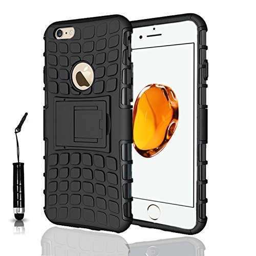 Apple iPhone 7Plus, Armor Case Tough Rugged Shock proof Armorbox Dual Layer Heavy Duty Carrying Hybrid Hard Slim Protective Case For iPhone 7 (with Kickstand) + Mini Touch Pen + Screen Protector-Blue Black