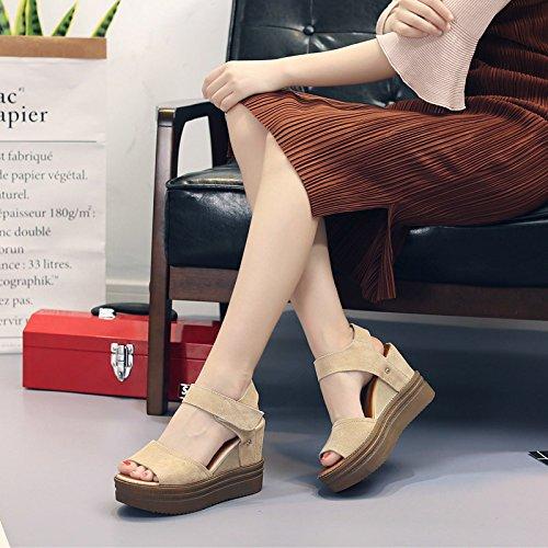 Gtvernh-mujeres Sandalias De Velcro Verano High 10 Cm Perezoso Para  Estudiantes De Zapatos Boca c6d62a8dcd63
