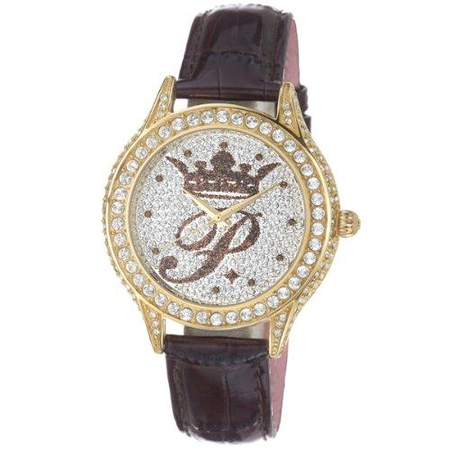 paris-hilton-womens-ph12987jsg-04-gold-ip-pave-crystal-brown-patent-leather-watch