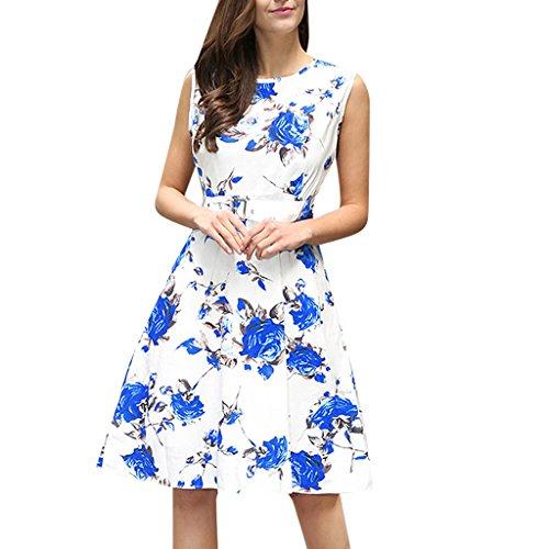 MNBS Femme Classique 1950S Style Ourlet A-ligne Élégant Robes Vintage Imprimer Rose Bleu