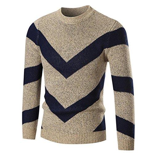 Herren Herbst Winter Pullover Langarm Pullover Slim Jumper Strick Outwear Bluse By Dragon868 (L, Khaki) (Hosen Cargo-wolle)