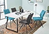 lifestyle4living Tisch, Esstisch, Ausziehtisch, Kufentisch, Küchentisch, Esszimmertisch, weiß, Hochglanz, U-Gestell, Kufengestell, Maße 160 x 80 cm