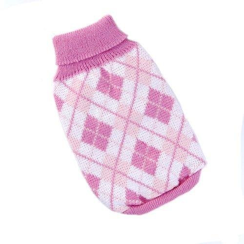stricken Rollkragen Hund Pullover Kleidung Argyle Patterns rosa -
