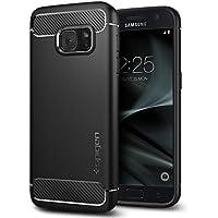 Samsung Galaxy S7 Hülle, Spigen® [Rugged Armor] Karbon Look [Schwarz] Elastisch Stylisch Soft Flex TPU Silikon Handyhülle Schutz vor Stürzen und Stößen Schutzhülle für Samsung Galaxy S7 Case Cover Black (555CS20007)