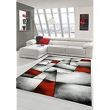 Sala de estar diseñador Alfombra Alfombra contemporánea alfombras de pelo bajo con el patrón de contorno de corte de diamante rojo del blanco gris Negro Größe 60x110 cm