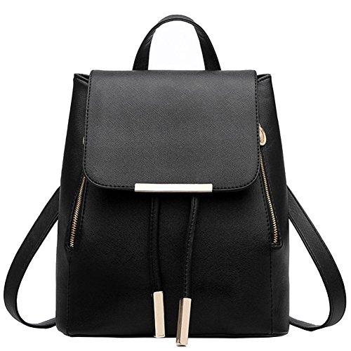 ladies-backpack-fashion-women-girls-shoulder-bag-rucksack-pu-leather-travel-bagblack