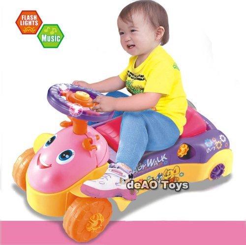 (BLC-Y) deAO 3-in1 Lauflernhilfe-und Kinderfahrzeug mit zwei Verwendungsfunktionen-mit Licht-und Soundeffekten