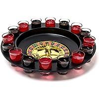 Relaxdays Juego de ruleta de beber con 16 copitas para licor, 30 x 30 cm, juego de azar como divertido juego de fiesta, 2 personas o más, diversión de casino, Ideal como regalo o para el día de padre, también para parejas, color negro-rojo