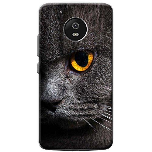 Nahaufnahme von grauen Katzen gelbes Auge Hartschalenhülle Telefonhülle zum Aufstecken für Motorola Moto G5