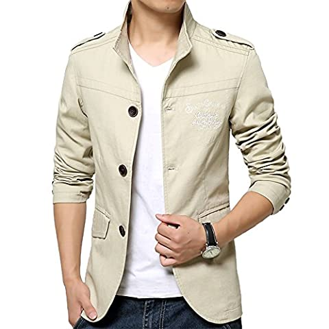 Monsieur Militaire Mode Solide tooling Leisure Suit dans la longue section de Vestes Manteau () - kaki - XXXXL