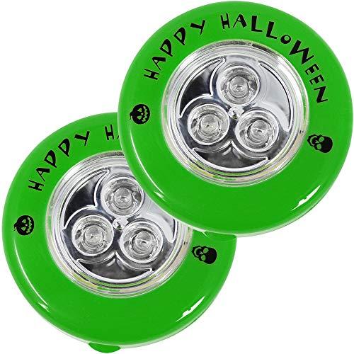 com-four® 2X LED Kürbis-Lampen, blinkende Kürbis LED Lichter für ausgehölte und Geschnitzte Kürbisse zu Halloween (002 Stück - LED ohne Batterien)