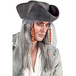 Sombrero de pirata fantasma con peluca.