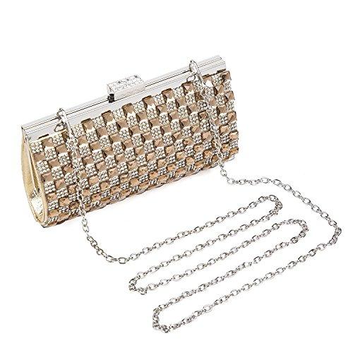 BAIGIO Borsetta con Tracolla da Donna Pochette con Diamante Elegante Borsetta da Sera Matrimonio Portafoglio Lungo, Argento oro