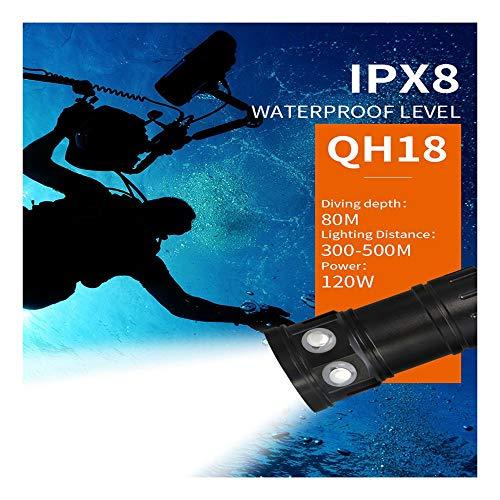huichang Tauchlampe Unterwasser Taschenlampe, Super Hell 80m Wasserdicht LED TaucherLampe für Video (QH18)