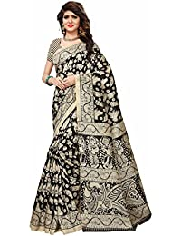 Floral Trendz Women's Bhagalpuri Silk Printed Saree With Blouse Piece.(Bhagalpuri 740_Black_Free Size)