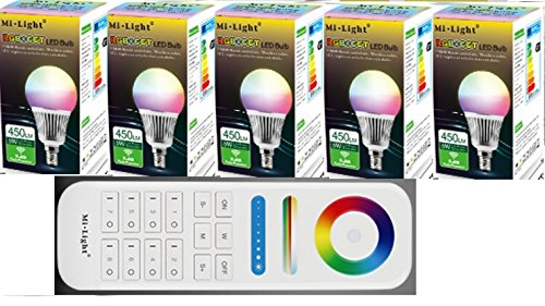 !!! NEU !!! 5x FUT013 6Watt E14 RGB+CCT Birne 1x 8Zonen FB 2,4G original MILIGHT¨ Produkt