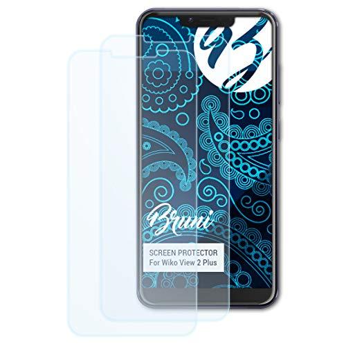 Bruni Schutzfolie kompatibel mit Wiko View 2 Plus Folie, glasklare Bildschirmschutzfolie (2X)