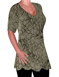 EyeCatch - Delta Ladies Print V Neck Blouse Tunic Womens Swing Flared T-Shirt Top