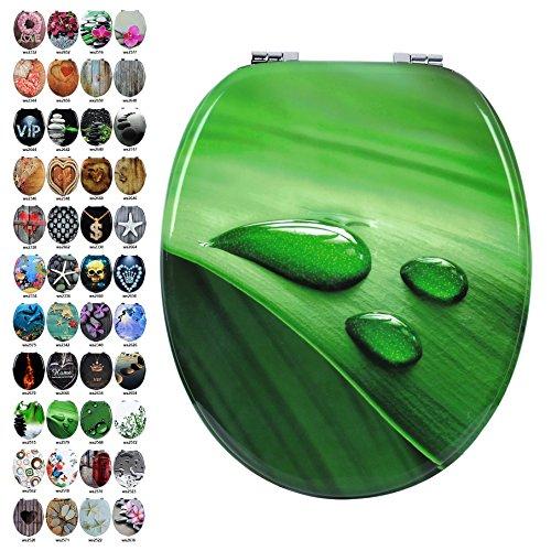 WOLTU #3 Premium WC Sitz, MDF-Holzkern, viele verschiedene Motive, aus Zink verchromt Scharniere (WS2579 Blatt Grün)