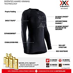 X-Bionic Invent 4.0 Shirt Round Neck Long Sleeves Women Capa De Base Camiseta Funcional, Mujer, Black/Charcoal, M
