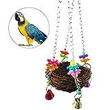 UEETEK Giocattolo di oscillazione dell'uccello del nido naturale del rattan con le campane per il pappagallo Macato del Cockatoo Amazzone Africano Grigio Budgie Parakeet Cockatiel