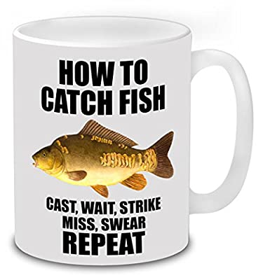 How to Catch Fish, Mirror Carp Fishing Mug Novelty Coffee Tea Ceramic Mug Present Fishing Gift Idea Secret Santa. from total-tees